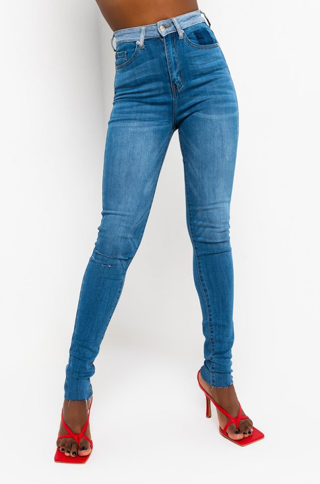 Front View In And Out High Rise Skinny Jeans in Medium Blue Denim