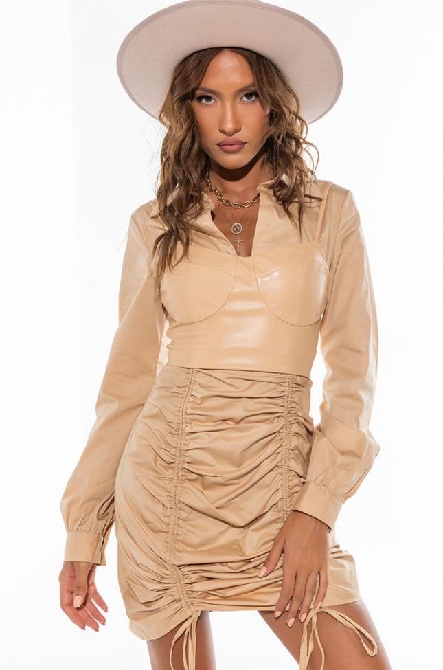 Front View In Heaven Long Sleeve Mini Ruched Dress