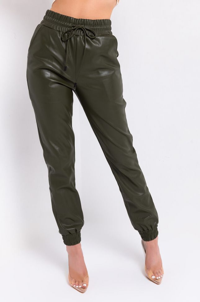 Front View In Her Power Pleather Joggers in Green