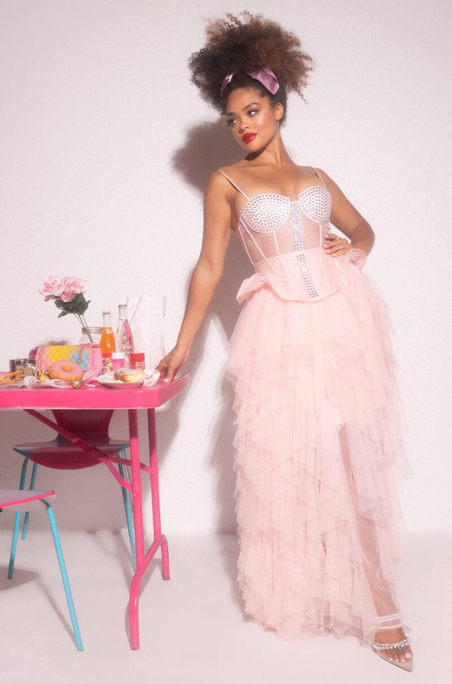 Front View In It For The Fame Tulle Maxi Dress in Blush