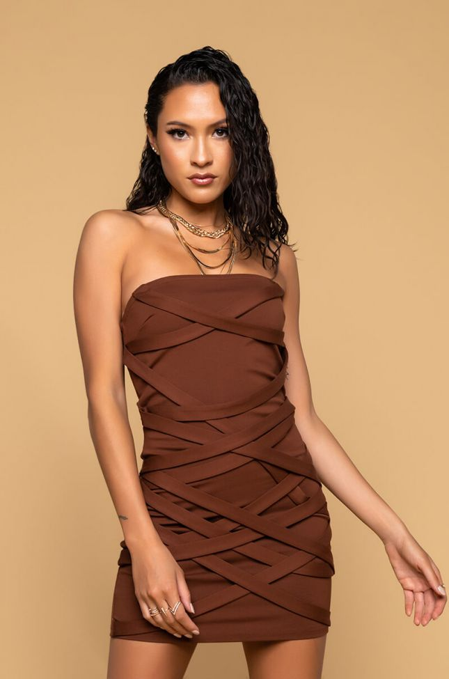 Front View In It To Win Strappy Mini Tube Dress in Brown