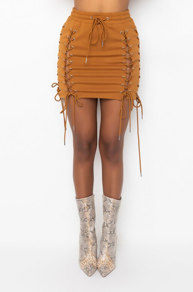 Front View In My Own Lane Lace Up Mini Skirt