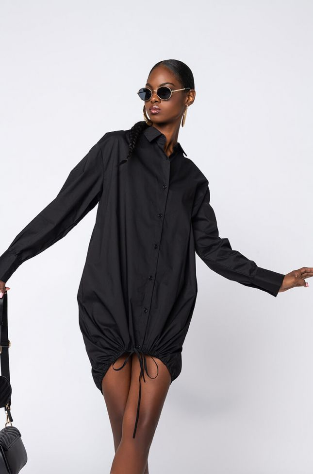 Side View In No Time Long Sleeve Button Up Dress in Black