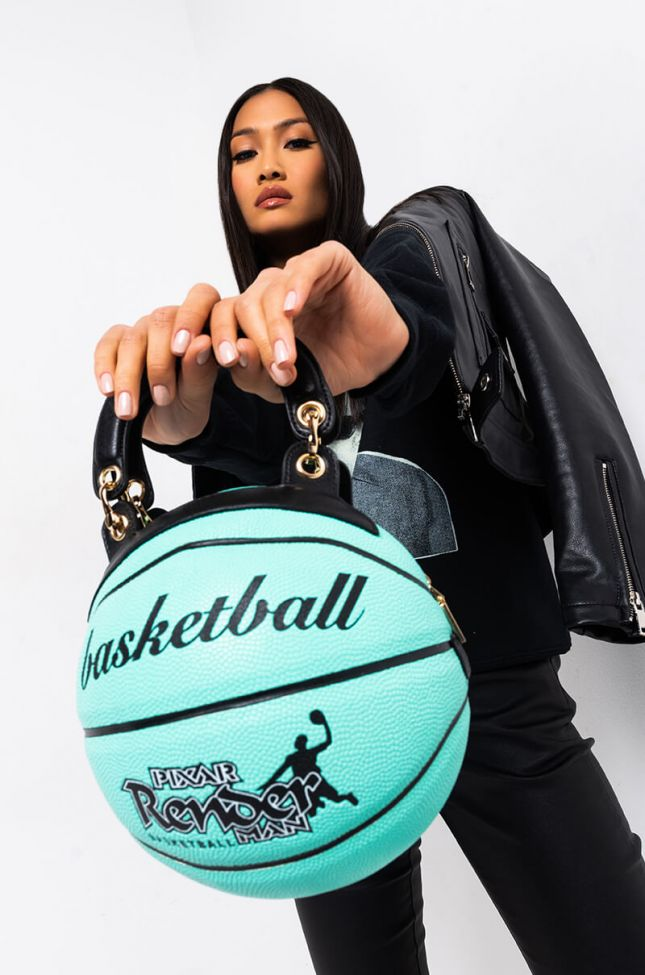 Front View In The Bag Teal Basketball Bag in Teal