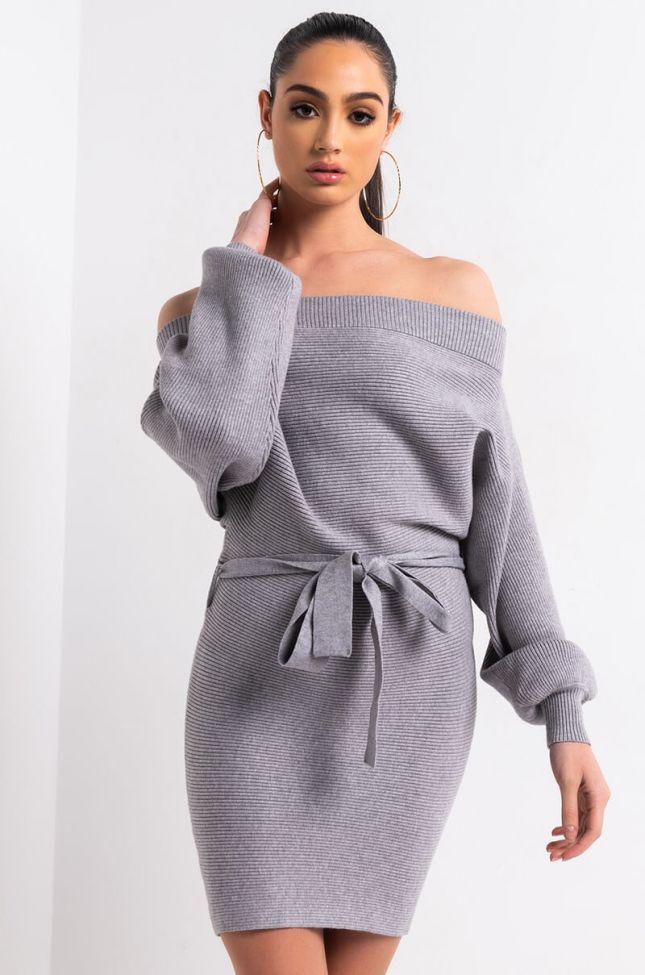 Front View In The Mood For Snungs Sweater Dress in Heather Grey