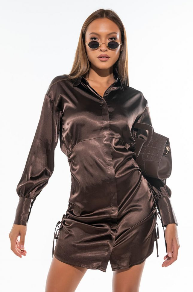 Front View In The Night Long Sleeve Satin Mini Dress