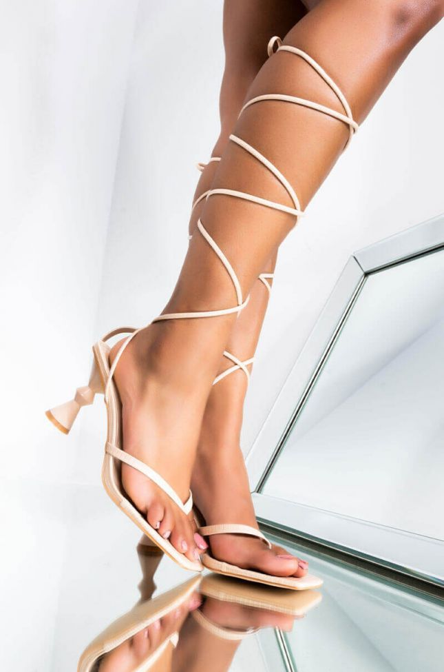 Front View In The Party Wrap Up Sandal in Nude
