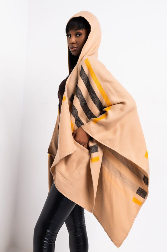 Side View In Your Arms Hooded Plaid Poncho in Beige Multi