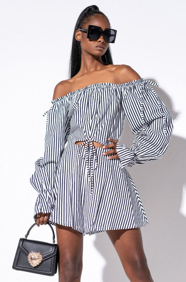 Front View In Your Dreams Off The Shoulder Romper in Blue Multi