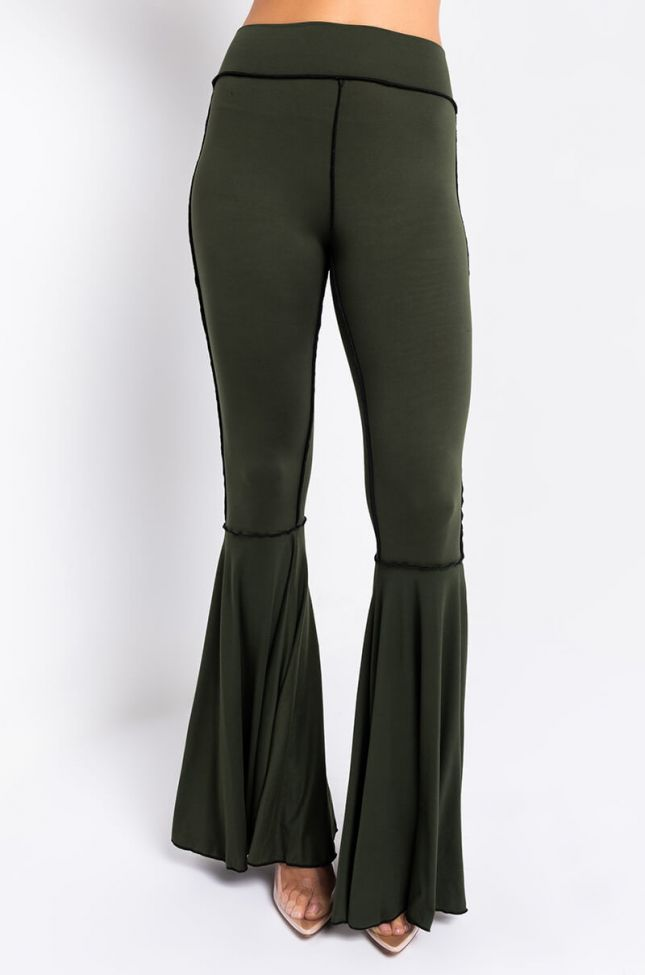 Front View Inside Out High Waist Exaggerated Flare Pant in Olive