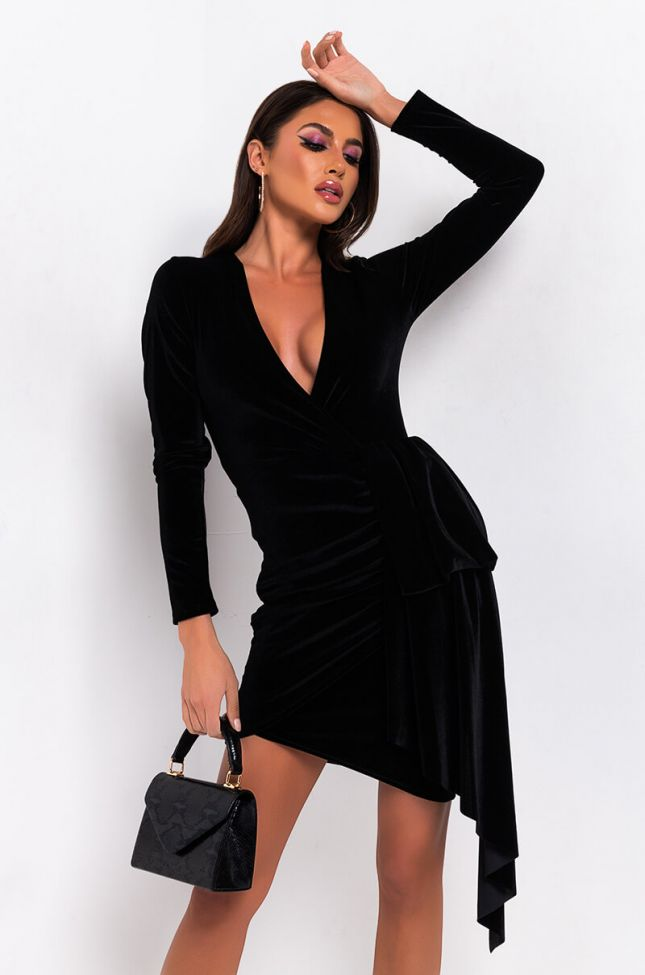 Front View Into The Night Mini Dress in Black