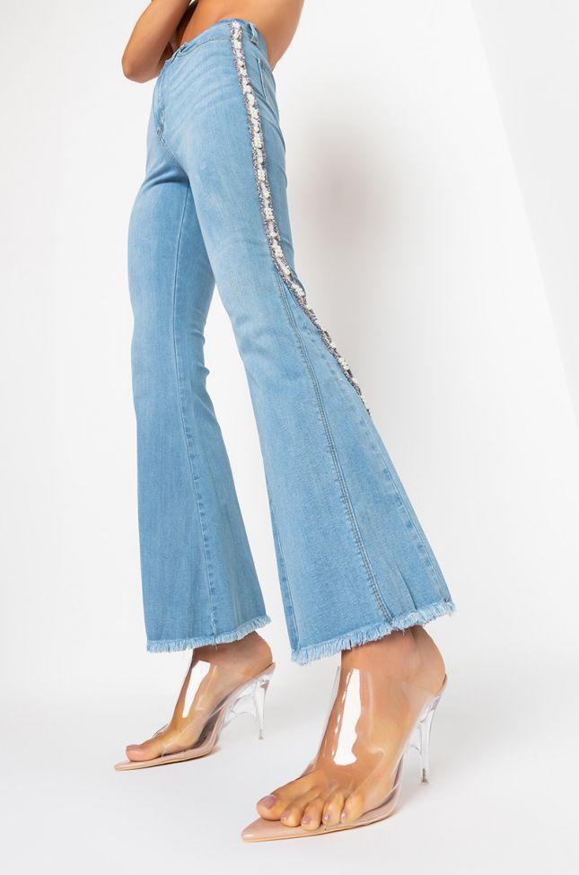 Detail View Iris Fare Jeans With Pearls in Medium Blue Denim