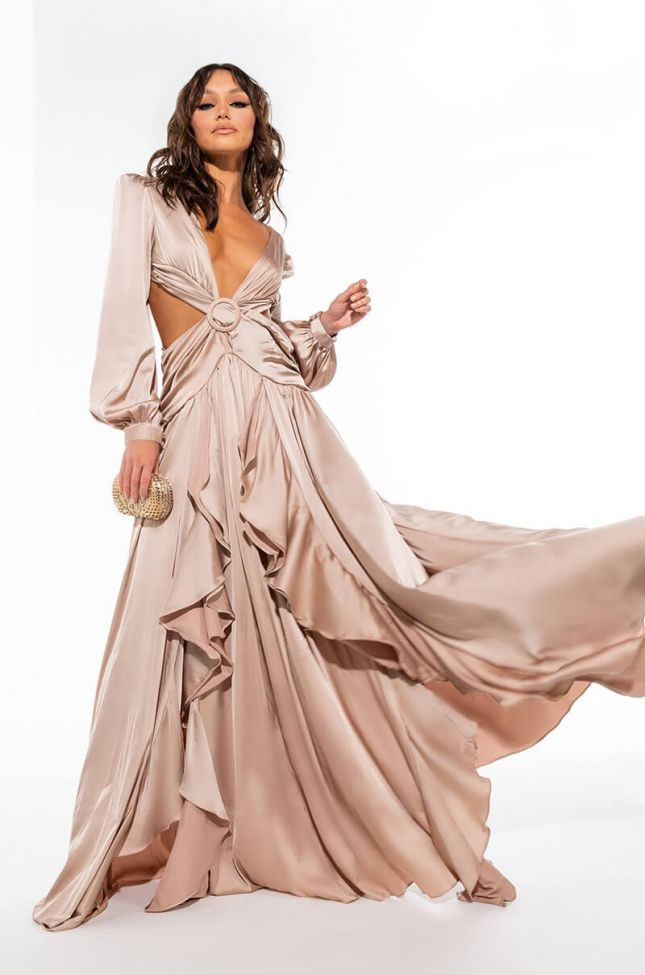 ISNT IT ROMANTIC SATIN CUT OUT MAXI DRESS