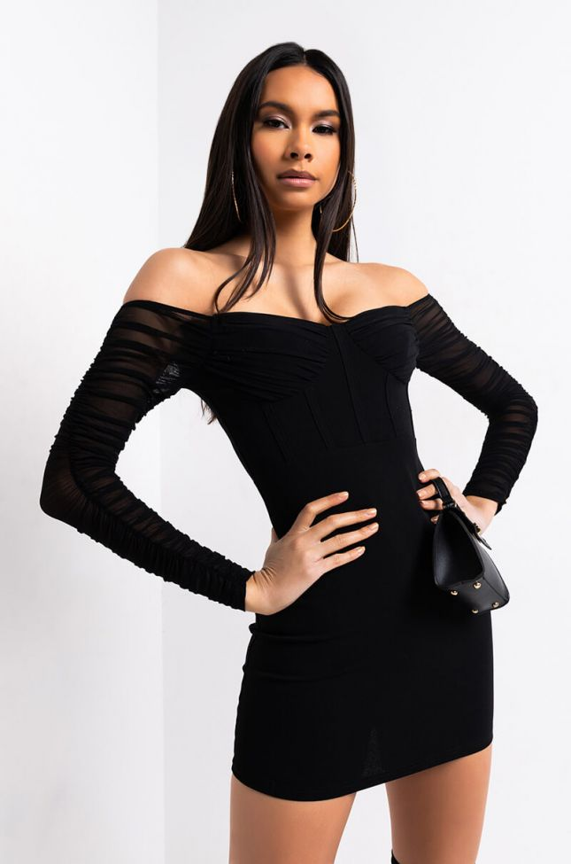 Front View It Is What It Is Off The Shoulder Ruched Sleeve Mini Dress in Black