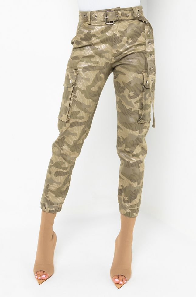 Front View It Might Be Time Fashion Cargo Pants in Green Multi