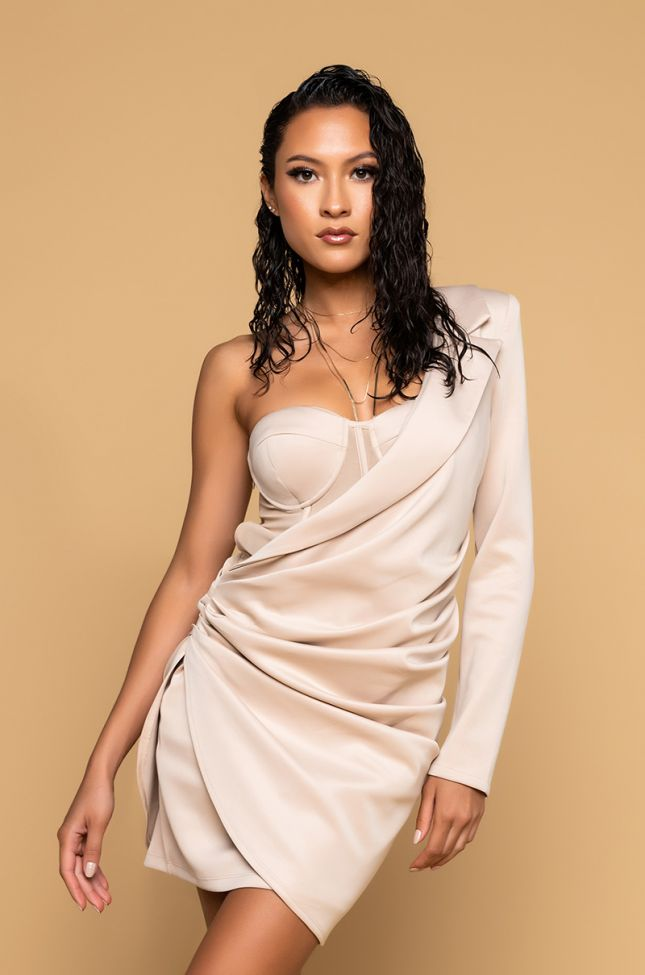 Front View It Only Gets Better Mini One Sleeve Dress With Corset in Light Brown