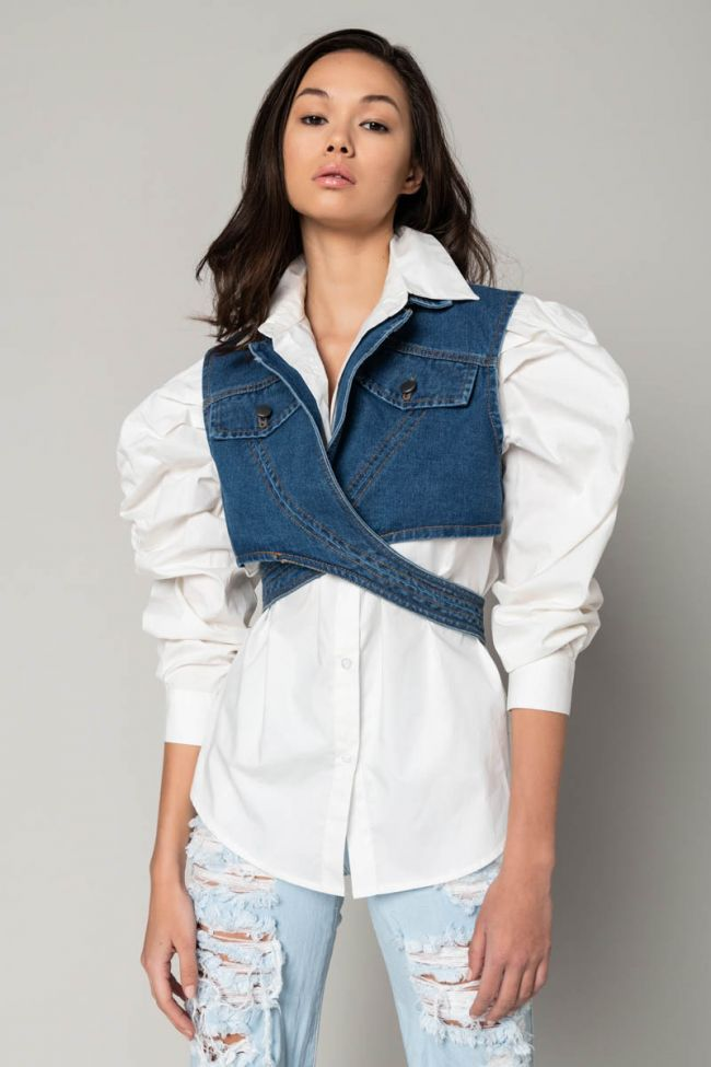 Front View Its A Look Blouse Vest Duo in White Multi