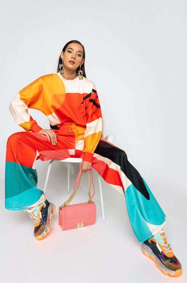 Its A Masterpiece Wide Leg Jogger in Orange Multi