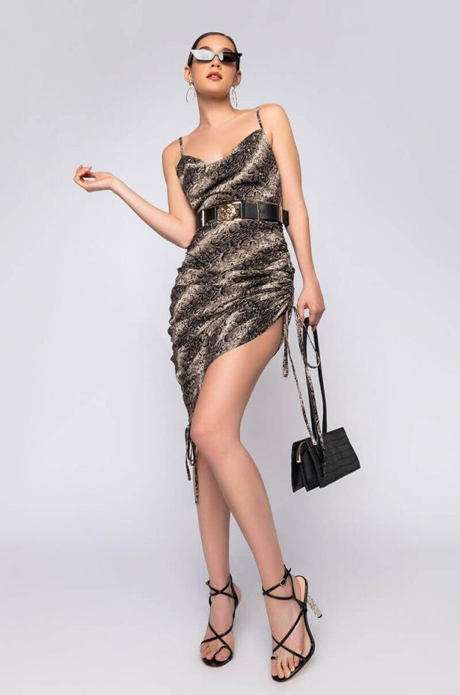 Full View Its All For You Side Drawstring Dress in Brown Multi