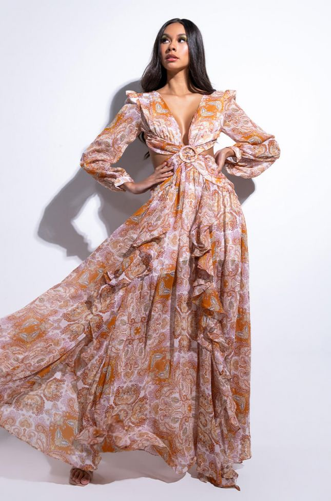 Front View Its Brunch For Me Chiffon Maxi Dress