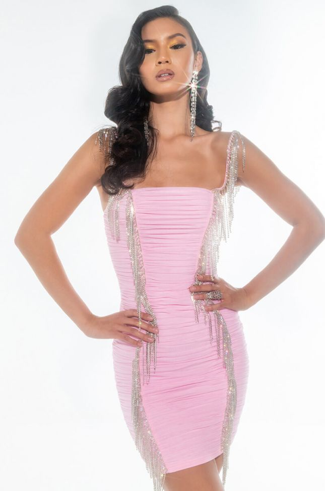IT'S NOT YOU IT'S ME MINI RUCHED DRESS WITH RHINESTONE FRINGE