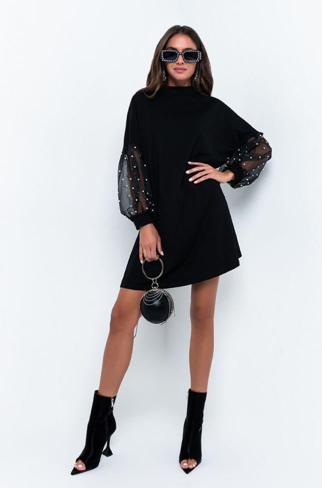 Full View Its Over For You Puff Sleeve Mini Dress in Black
