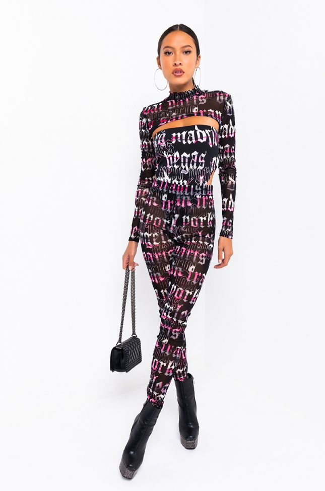 Its Over Mesh 3 Piece Set in Pink Multi
