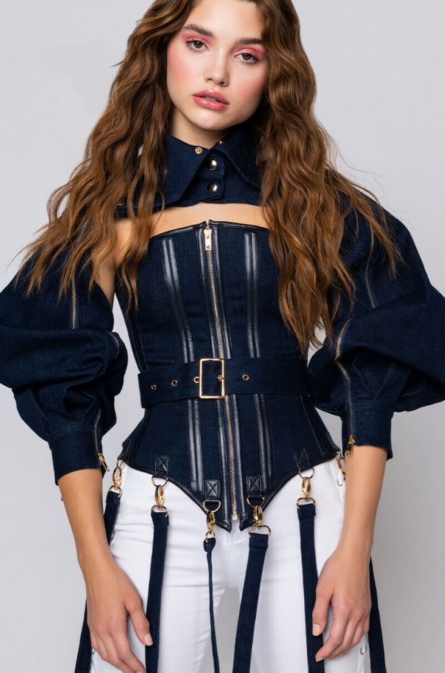 Side View Its The Details For Me Denim Corset And Cropped Jacket in Dark Blue Denim