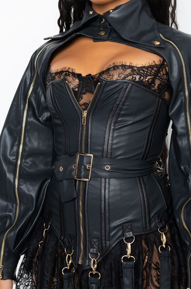 Extra View Its The Details For Me Pu Corset And Jacket
