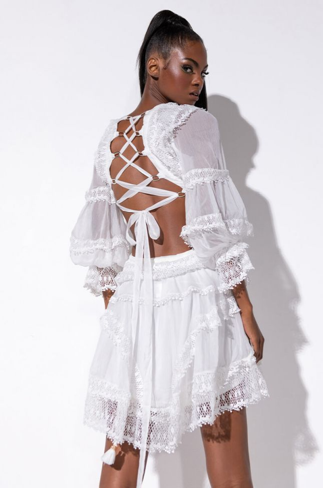 Back View Its The One Lace Mix Back Lace Mini Dress in White