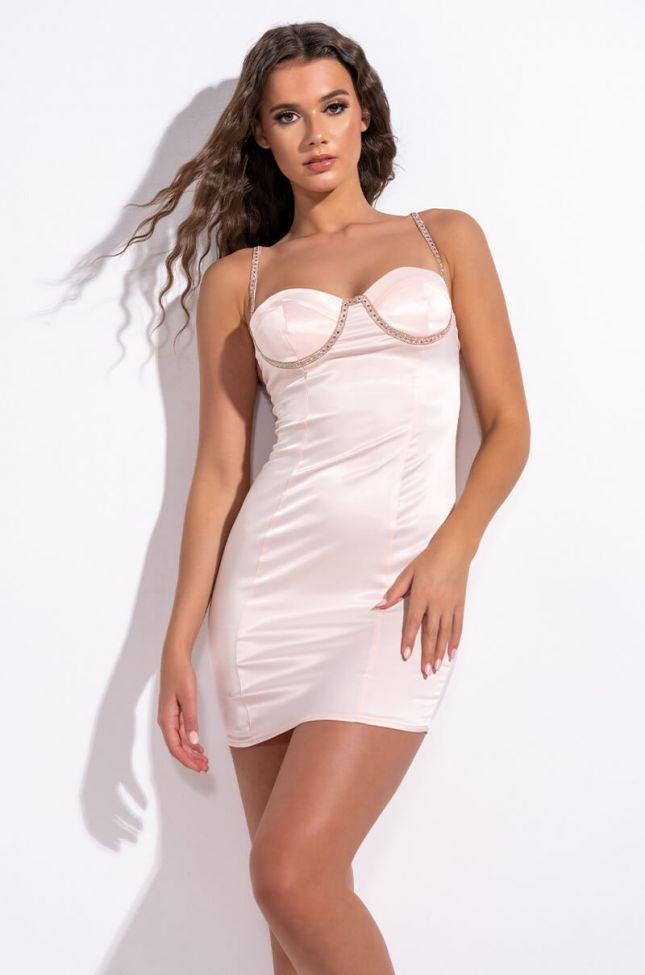 Front View Its The Strap For Me Satin Mini Dress