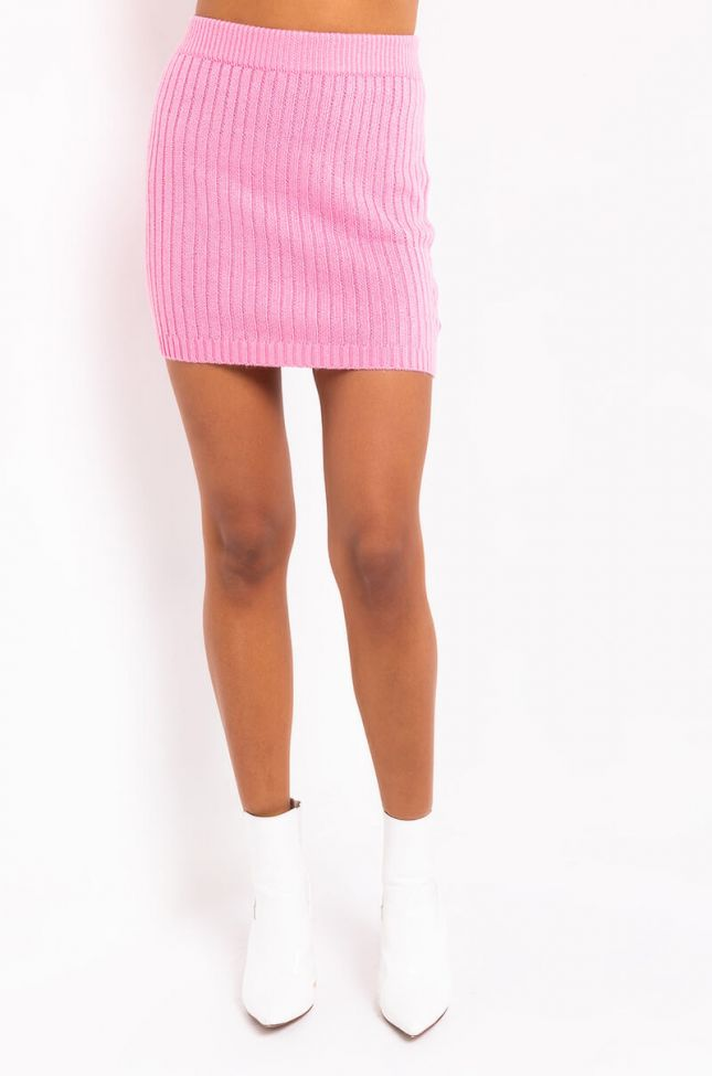 Front View Its The Weekend Mini Skirt in Pink