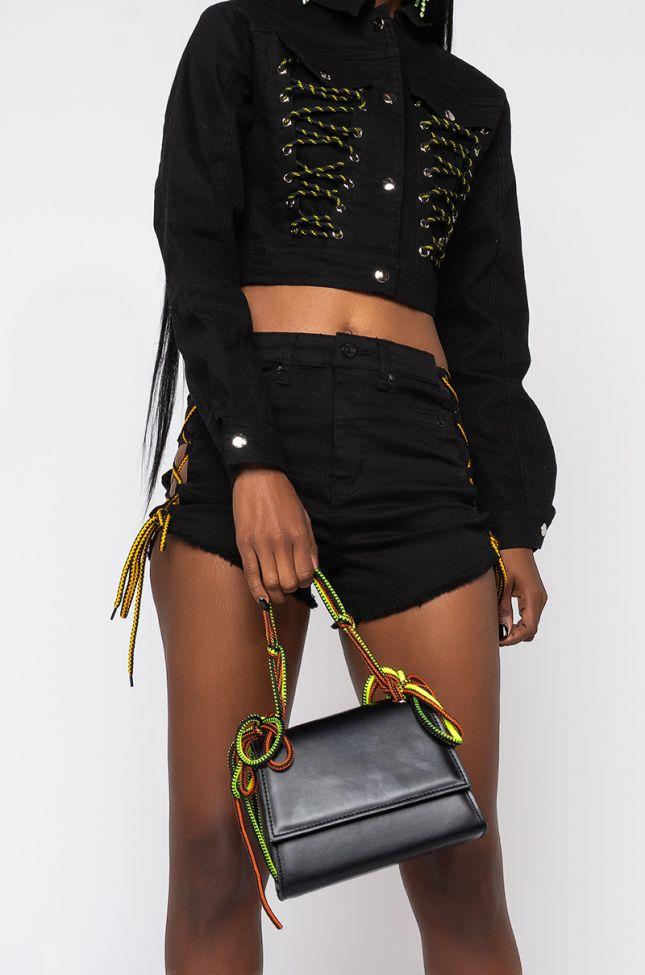 Front View Jacq Neon Shoe Lace Bag in Black