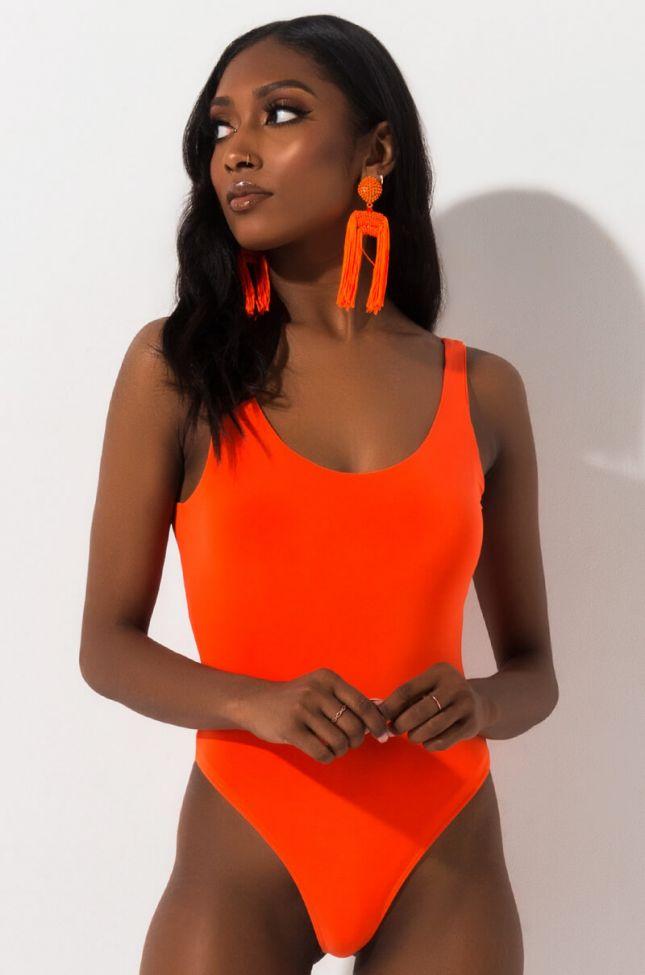 Front View Janice Sleeveless Bodysuit in Orange