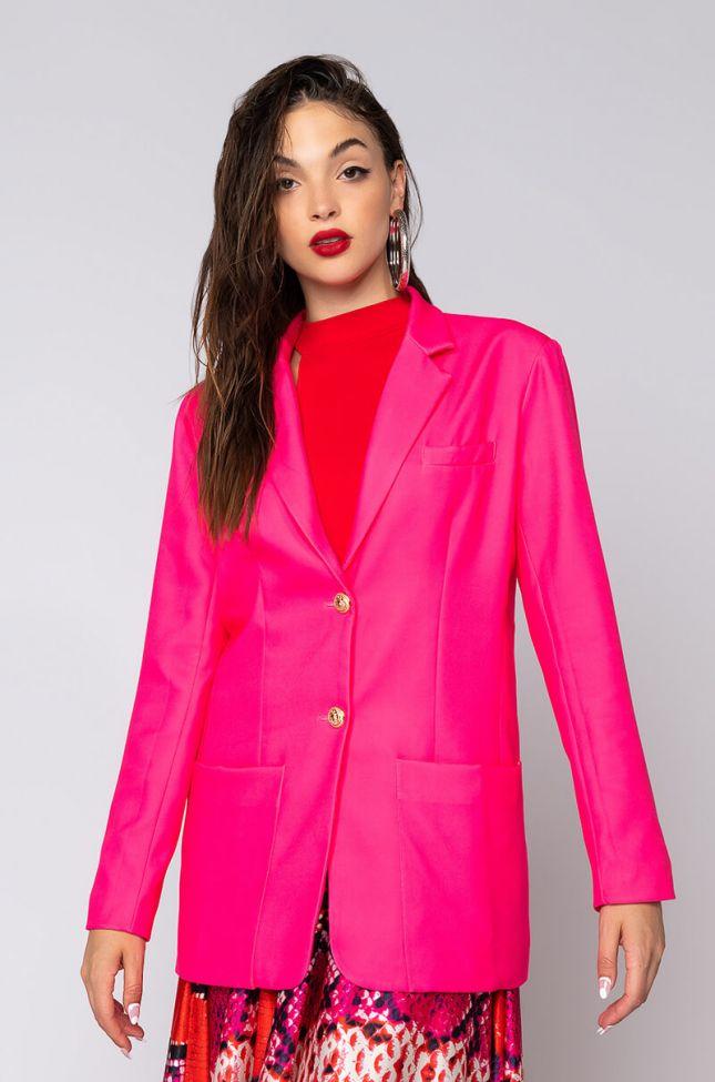 Front View Jaq Pot Oversized Summer Blazer in Neon Pink