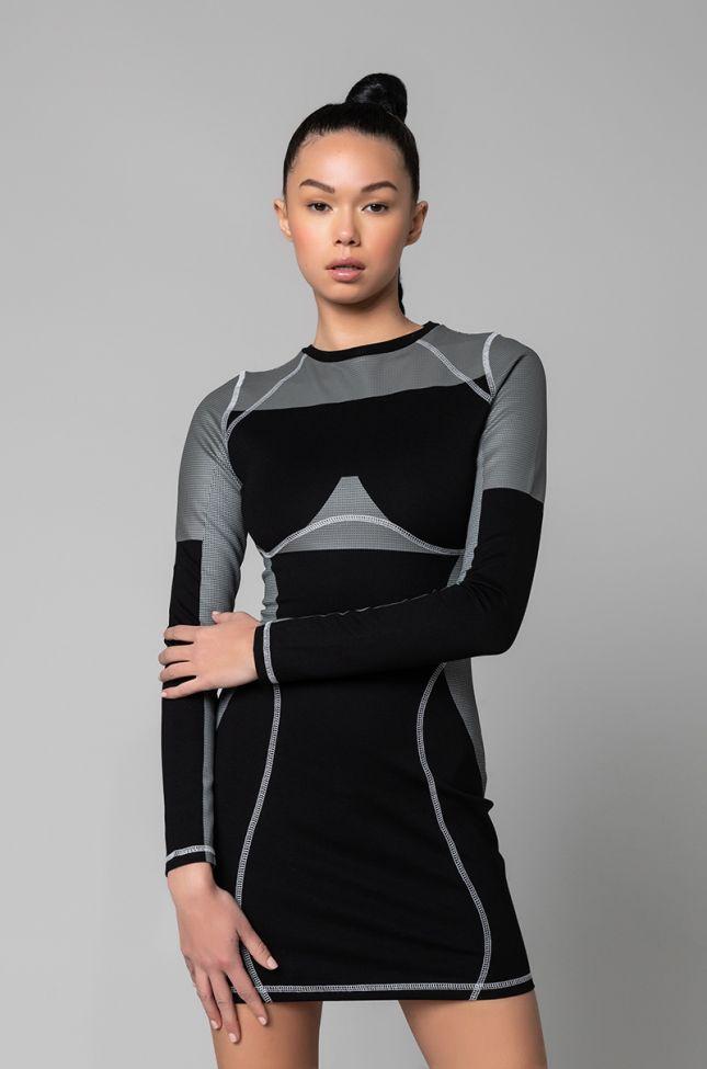 Front View Jenni Contrast Seam Mini Dress in Black Multi