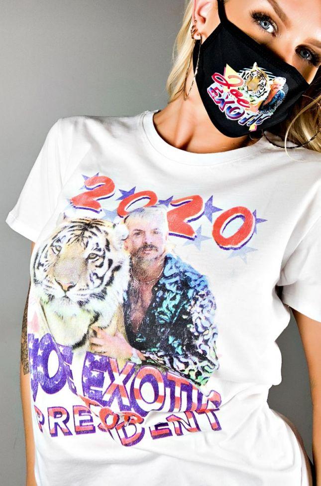 Full View Joe Exotic King Tiger 2020 Graphic Tshirt in White Multi