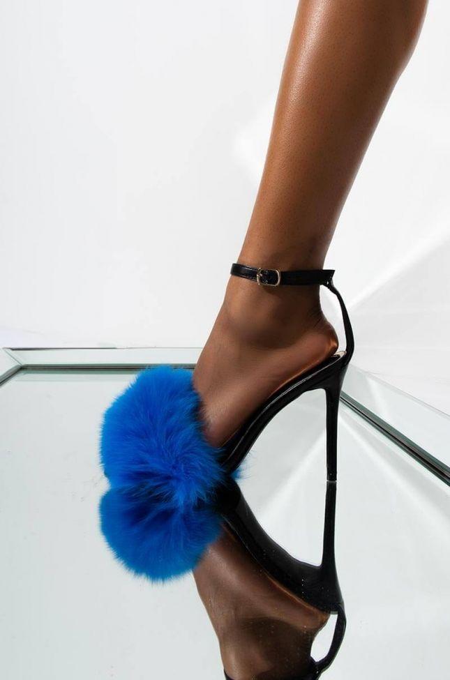 Front View Joke Around Furry Stiletto Sandal in Blue