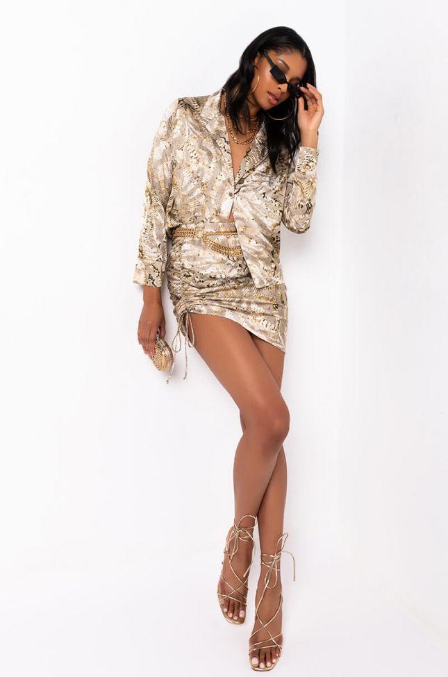 Jolie Snake Mini Rouched Skirt in Ivory Multi