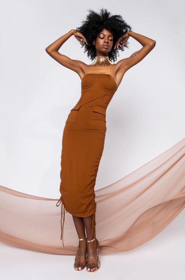 Front View Jumpin Jumpin Drawstring Midi Dress in Light Brown