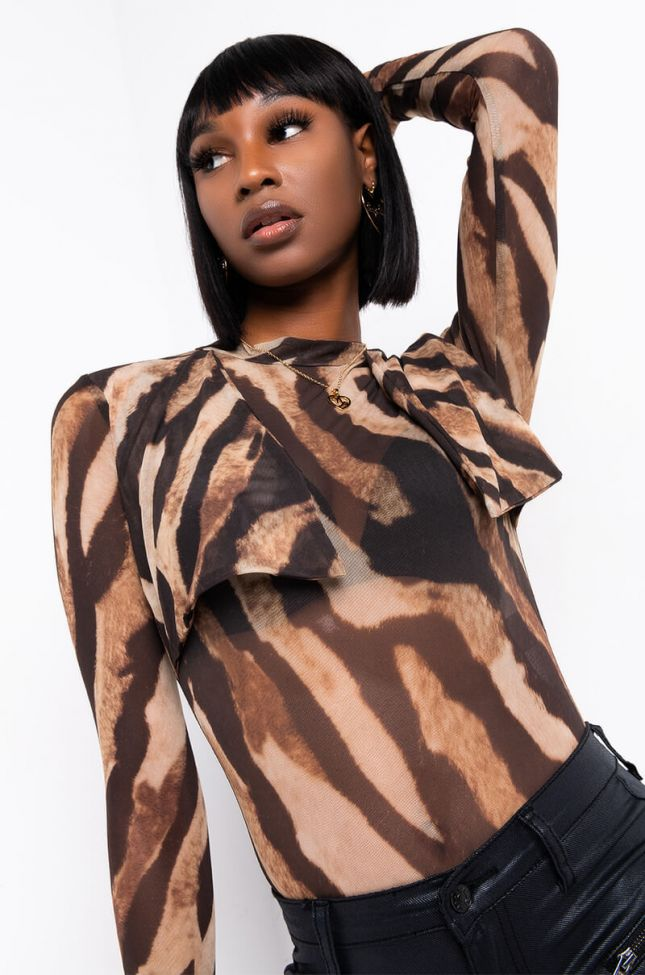 Front View Jungle Book 2.0 Long Sleeve Mesh Bodysuit in Brown Tiger
