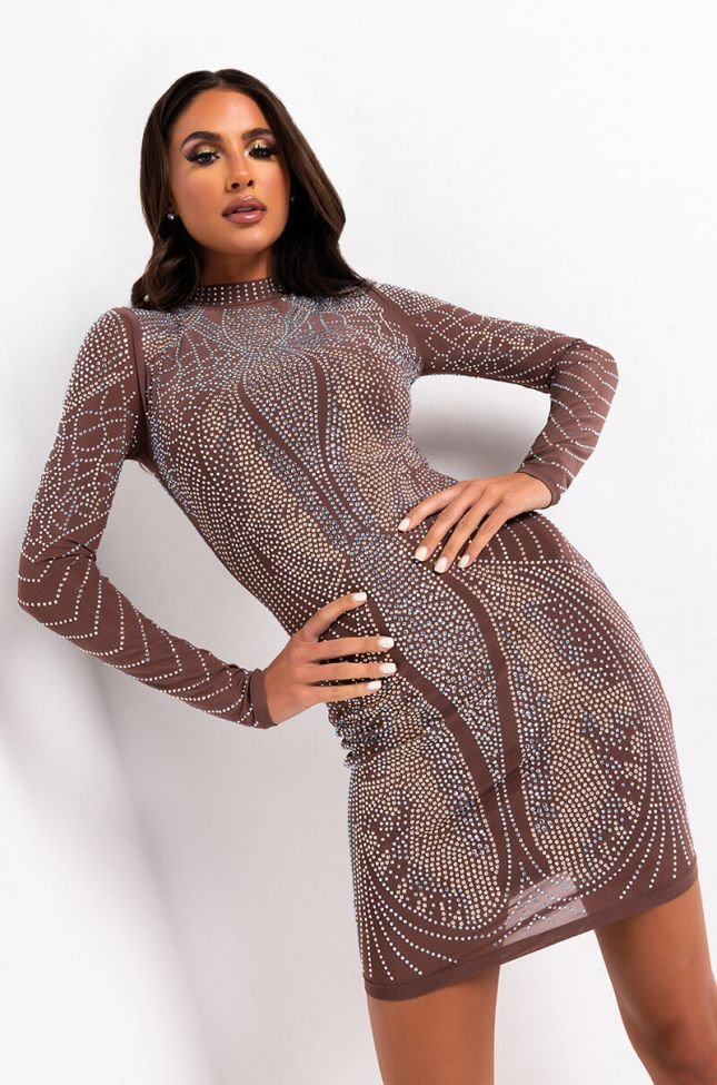 Front View Just Give Me The Light Rhinestone Dress in Brown