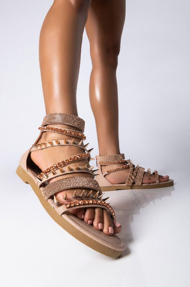 Front View Just Like Magic Flat Sandal in Nude