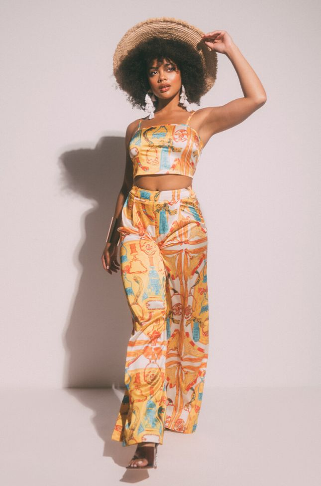 Just The Richest Wide Leg Pant in Yellow Multi
