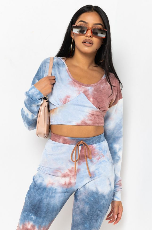 Front View Just Wanna Have Fun Long Sleeve Crop Hoodie in Blue Multi