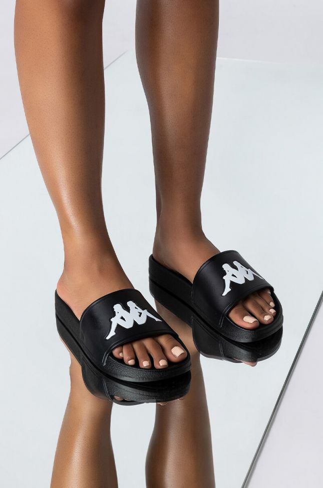 Front View Kappa Authentic Adam 2 Slide Sandal in Black White