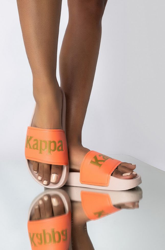 Front View Kappa Authentic Caesar 2 Slide in Pink Gold