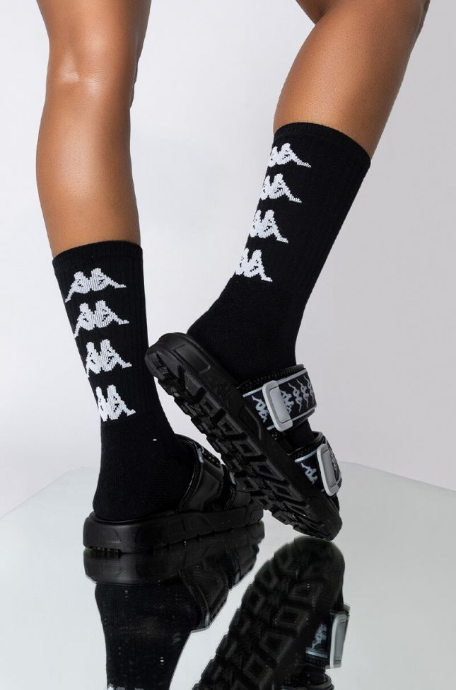Front View Kappa Forever Ankle Socks in Black White