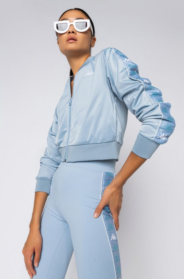 Front View Kappa Womens 222 Crop Osbar Track Jacket in Blue
