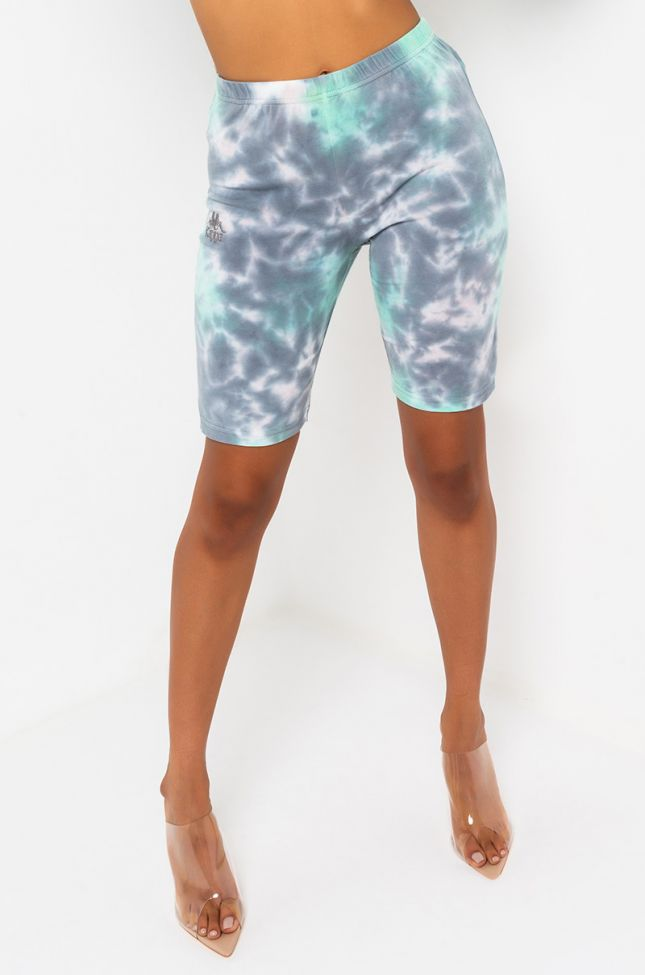 Front View Kappa Womens Authentic Amble Biker Shorts in Pink Frost Grey Aqua